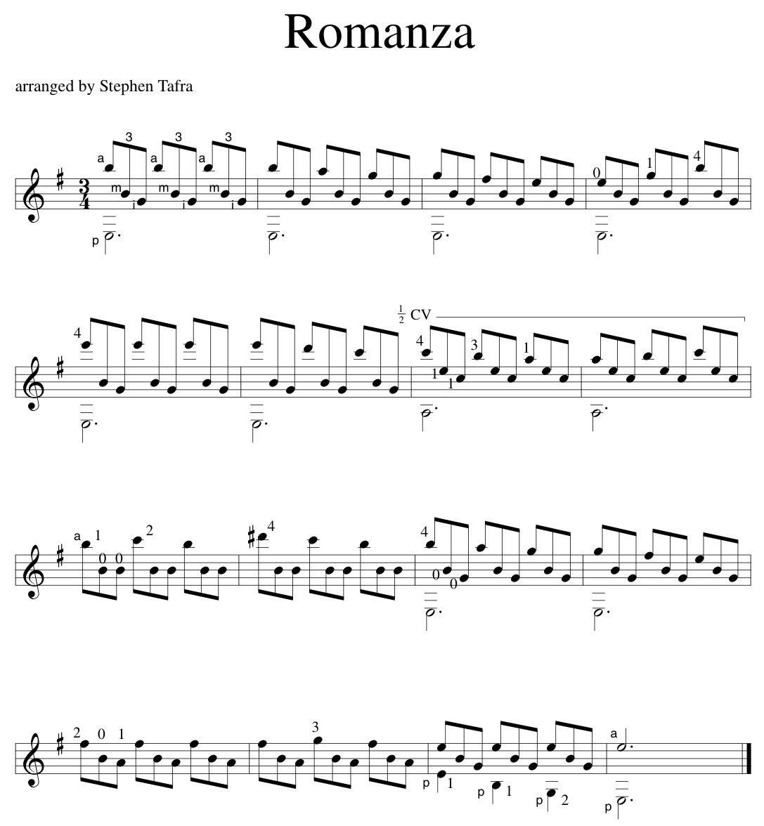 sheet music | Stephen Tafra